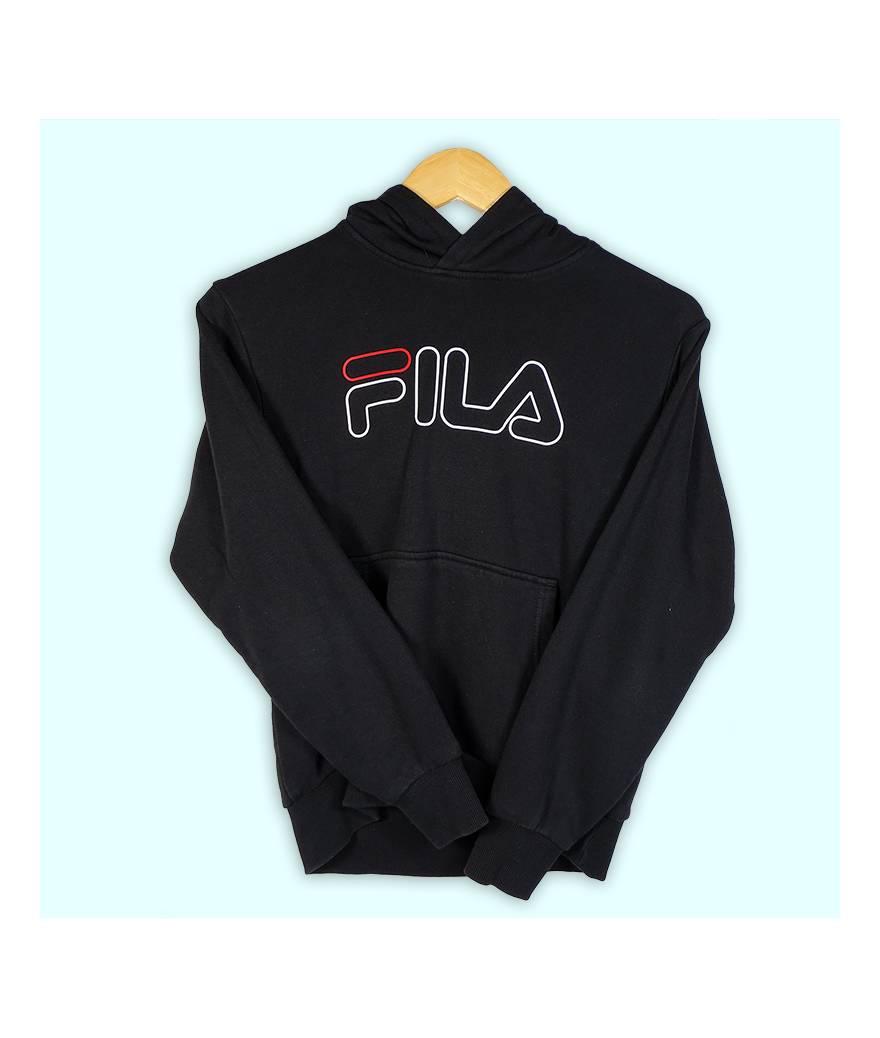 Sweater Fila noir, grand logo au centre