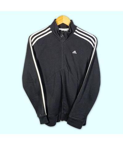 Pull à fermeture éclaire Adidas noir et bandes blanches pour femme